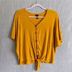 Rue 21 Yellow Tie Blouse [Small]